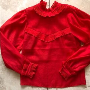 H&M Red Ruffled Blouse NWT